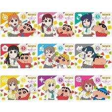 Crayon Shin-chan x Love Live! Sunshine!! Square Trading Pin Badge Box Set