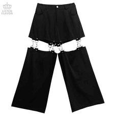 LISTEN FLAVOR Black Zettai Ryoiki Detachable Pants