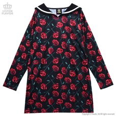 LISTEN FLAVOR Strawberries & Roses Sailor Collar Dress