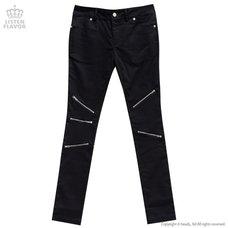 LISTEN FLAVOR Zip Detail Black Skinny Pants