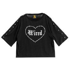 LISTEN FLAVOR Wired Heart Snap Short Sleeve Top