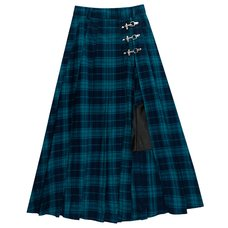 LISTEN FLAVOR Green Plaid Fire Buckle Layered-Style Pleated Skirt