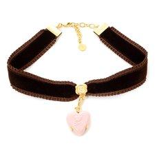 Q-pot. Velvet Ribbon Choker w/ Puchi Arrow Heart Milky Strawberry Charm