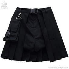 LISTEN FLAVOR Layered Pleated Flap Skirt w/ Shorts and Detachable Pocket