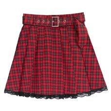 LISTEN FLAVOR Red Plaid Pleated Mini Skirt w/ Belt