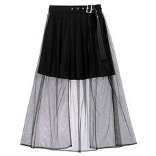 LISTEN FLAVOR Tulle Layered Pleated Skirt