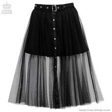 LISTEN FLAVOR Front Snap Tulle Long Skirt