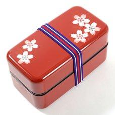 Red Maki-e Cherry Blossom 2-Tier Bento Box