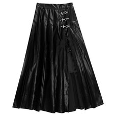 LISTEN FLAVOR Black Leather Fire Buckle Layered-Style Pleated Skirt