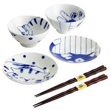 Friendly Cat Mino Ware Rice Bowl & Small Plate Set