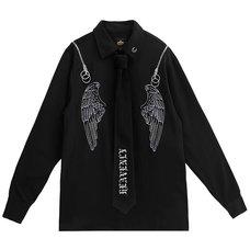 LISTEN FLAVOR Angel's Wings Zippered Shoulder Shirt w/ Necktie