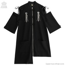 LISTEN FLAVOR Open Shoulder China Zip Shirt Dress
