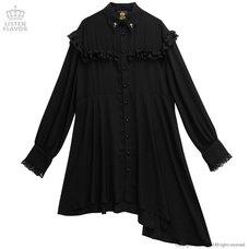 LISTEN FLAVOR Asymmetrical Frill Shirt Dress