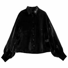 LISTEN FLAVOR Rose Embroidered Volume Sleeve See-Though Shirt