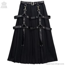 LISTEN FLAVOR Harness Pleated Long Skirt