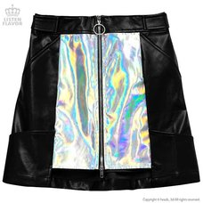 LISTEN FLAVOR Holographic Faux Leather Trapezoid Skirt