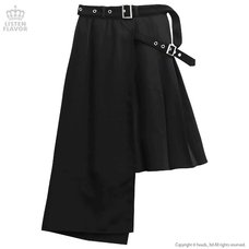 LISTEN FLAVOR Layered Style Asymmetrical Pleated Long Skirt w/ Belt