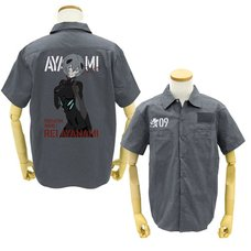 Evangelion Rei Ayanami Full-Color Print Gray Work Shirt