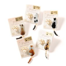 Osewaya Seated Cat & Paw Earrings