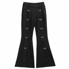 LISTEN FLAVOR Black D-Ring Design Flared Pants