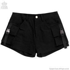 LISTEN FLAVOR Black Cargo Shorts
