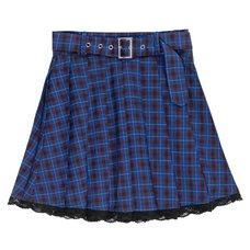 LISTEN FLAVOR Blue Plaid Pleated Mini Skirt w/ Belt