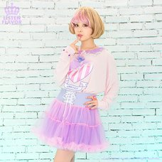 LISTEN FLAVOR Lace-up Tulle Frill Skirt