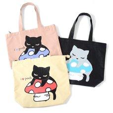 Osumashi Pooh-chan Pooh-chan on a Mushroom Tote Bags