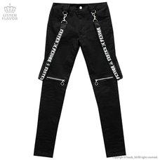 LISTEN FLAVOR Zip Skinny Pants w/ Suspenders
