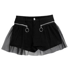 LISTEN FLAVOR Layered Shorts w/ Tulle