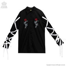 LISTEN FLAVOR Rose & Knife Ribbon Sleeve Shirt