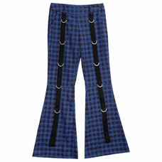 LISTEN FLAVOR Blue Check D-Ring Design Flared Pants