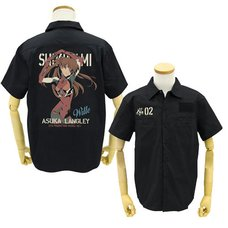 Evangelion Asuka Langley Shikinami Full-Color Print Black Work Shirt