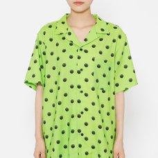 Junji Ito R4G Uzumaki Dots Green Open Collar Shirt