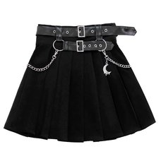 LISTEN FLAVOR Chain Belt Pleated Skirt