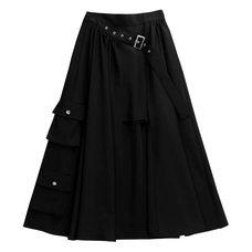 LISTEN FLAVOR Layered-Style Cargo Long Skirt
