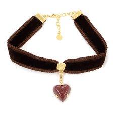 Q-pot. Velvet Ribbon Choker w/ Amour Rouge Chocolate Charm