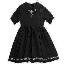 LISTEN FLAVOR Rose & Ankh Embroidered Gathered Dress