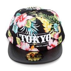 Tokyo Flower Pattern Flat Bill Hat