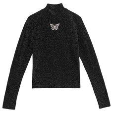 LISTEN FLAVOR Butterfly Embroidered Glitter Top