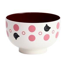 Polka Dots & Cats Lacquerware Soup Bowl