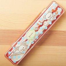 Rilakkuma Chopsticks, Spoon & Case (Blue Polka Dots)