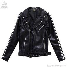 LISTEN FLAVOR Checkered Sleeve Biker Jacket