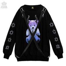 LISTEN FLAVOR Devil Bear Shoulder Zip Big Pullover w/ Straps