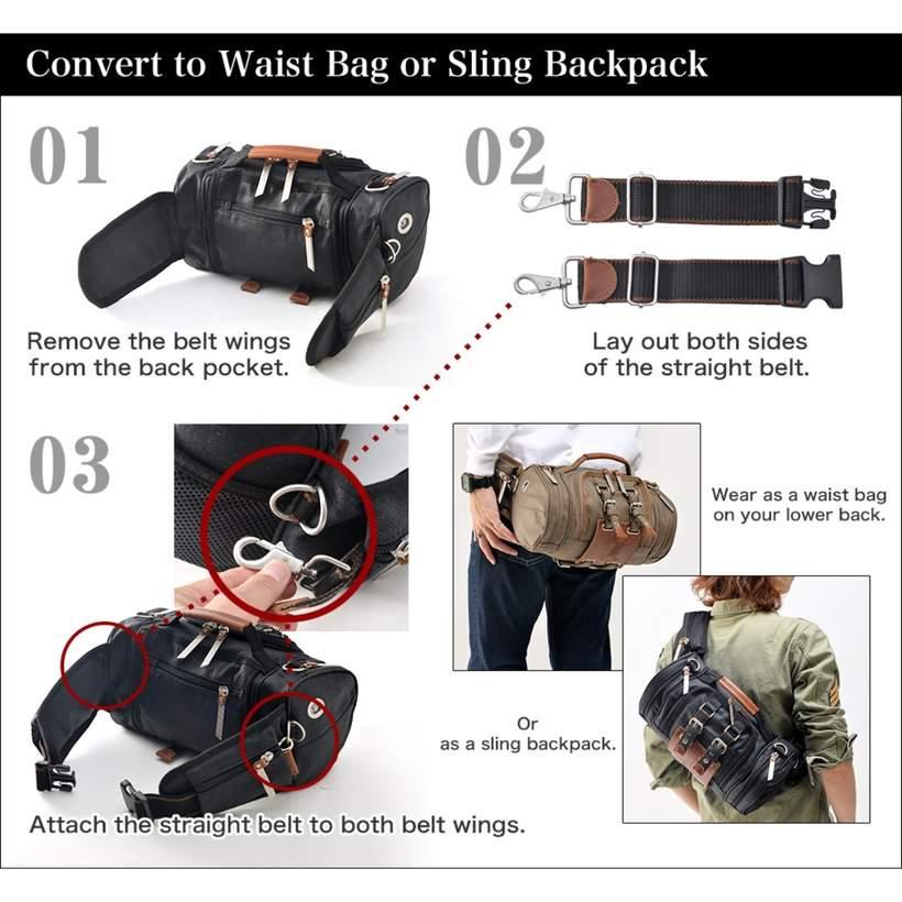Attack on Titan Vertical Maneuver Equipment Bag 4way Backpack Waist Pouch Khaki