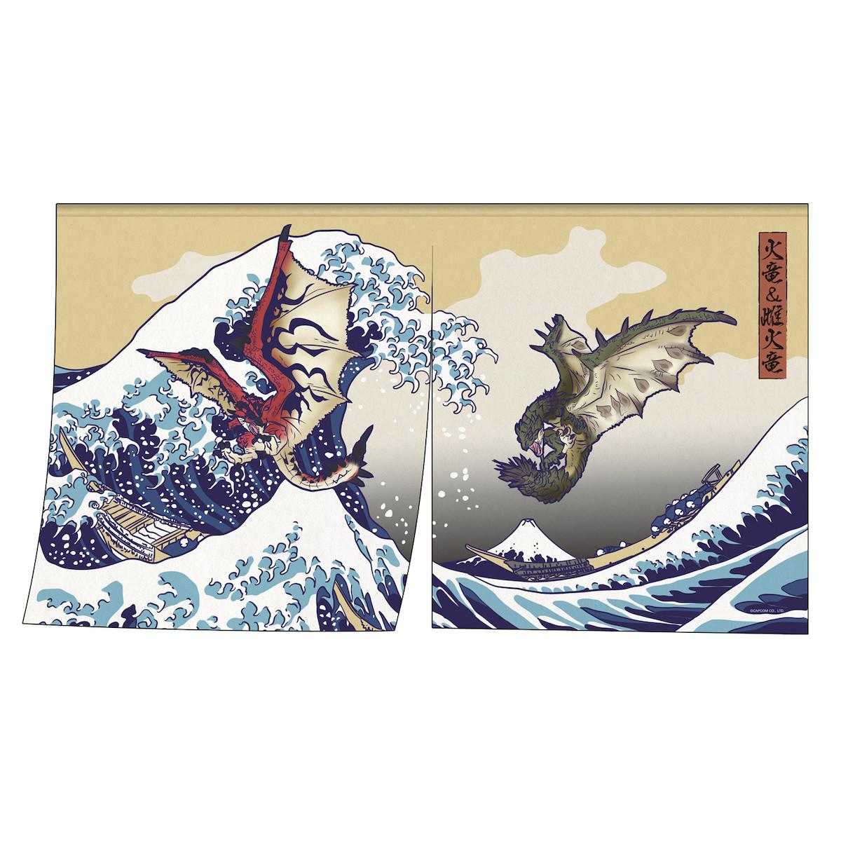Monster Hunter Rathalos Rathian X Fugaku Ukiyo E Noren Tapestry