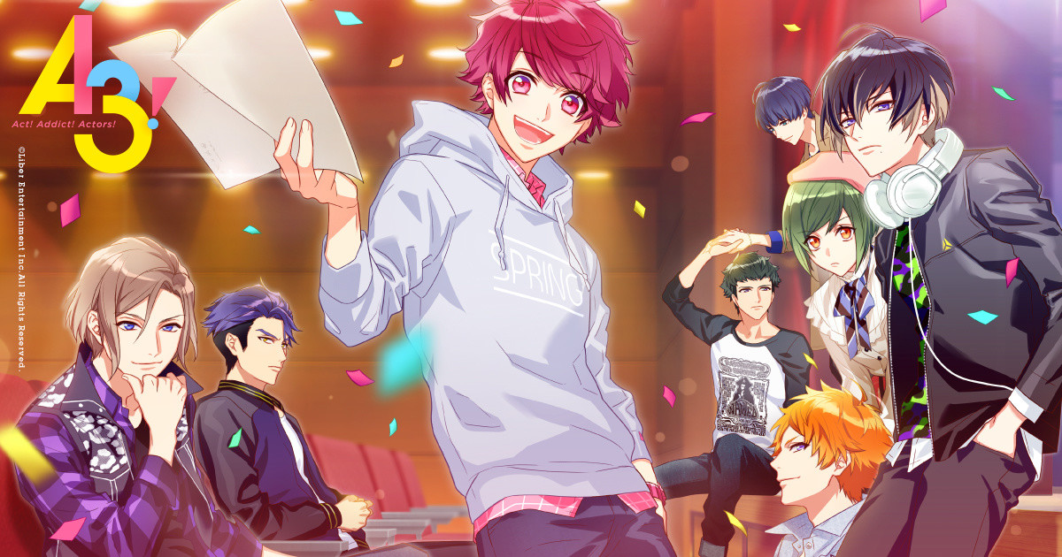 A3! game title screen featuring the troupe leaders and the first play co-leads